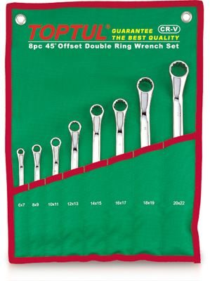 Toptul® 8 Piece 45° Offset Double Ring Wrench Set