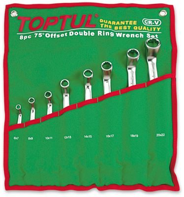 Toptul® 8 Piece 75° Offset Double Ring Wrench Set